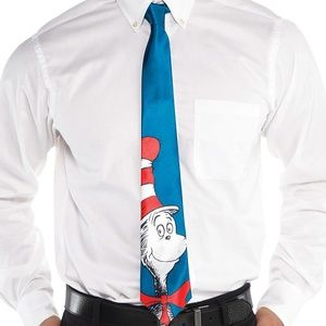 Dr seuss cat in the hat blue mens costume necktie